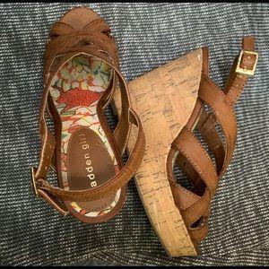 Madden Girl light brown strap wedges